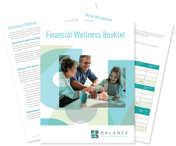 Preview of three pages from the Financial Wellness Booklet