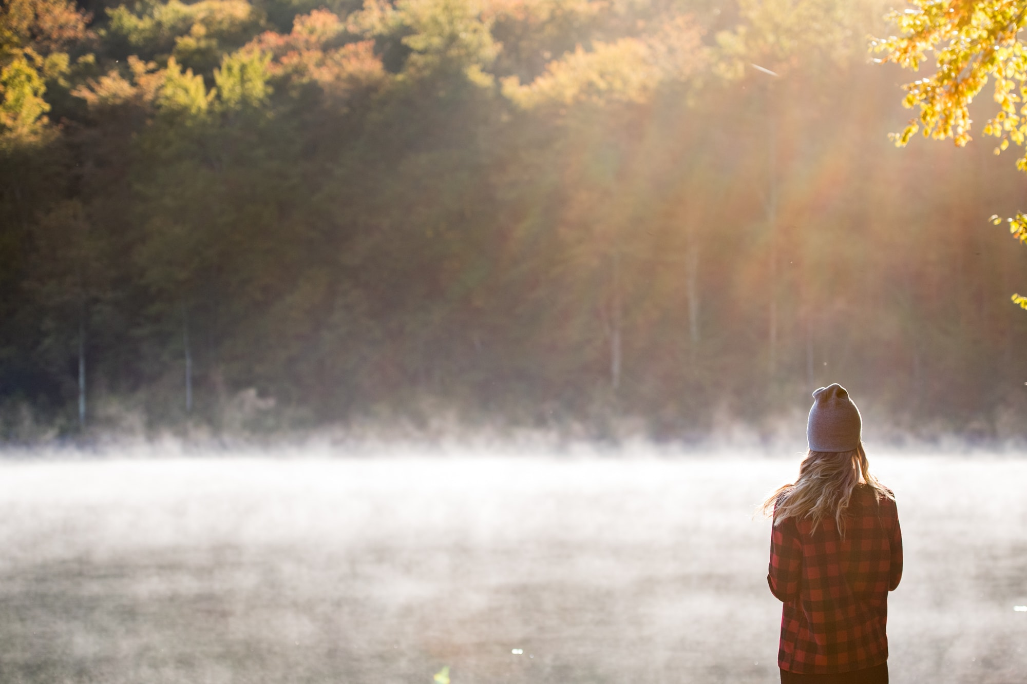 Young Woman Looks Into The Sun And Fog