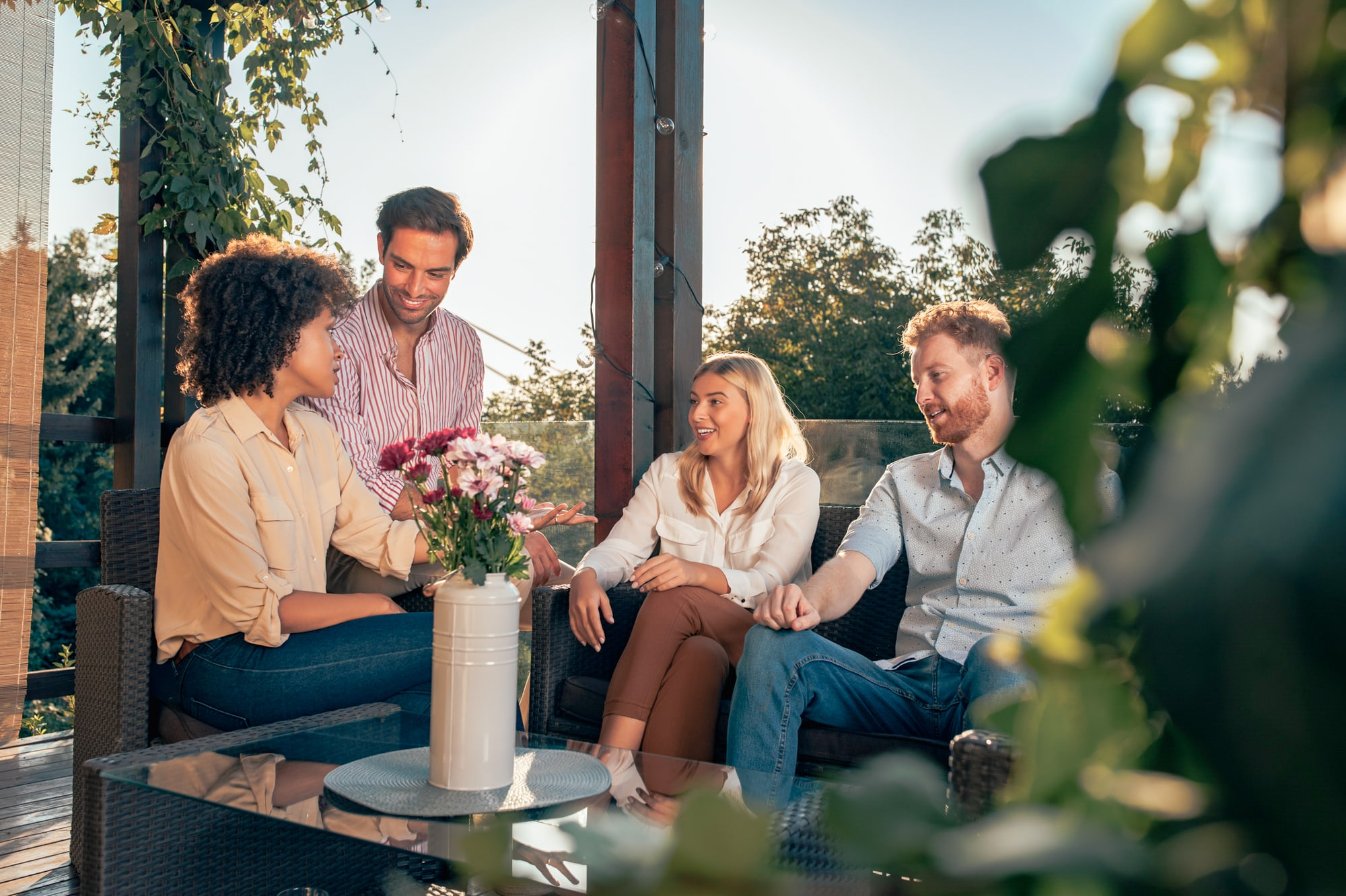 Two couples discuss co-parenting