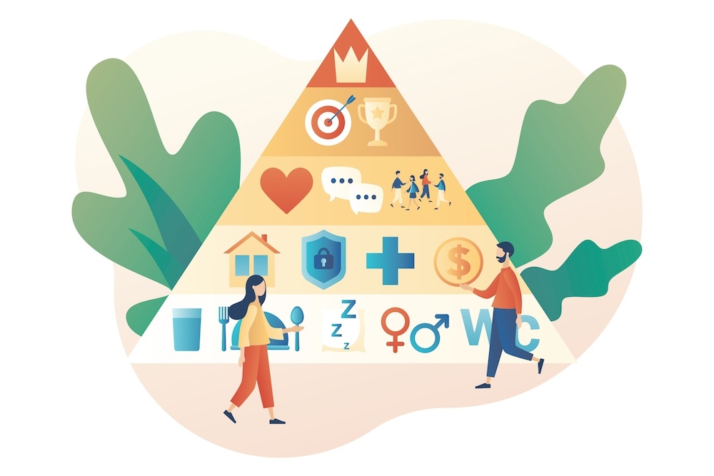 Maslows hierarchy of needs pyramid shows images depicting the levels of needs such as food shelter love achievements and a crown for self actualization